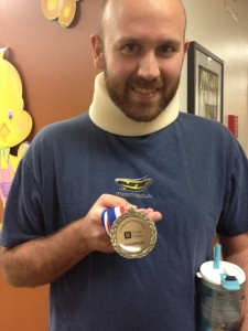 They gave Mike a medal for completing radiation treatment. My hero!